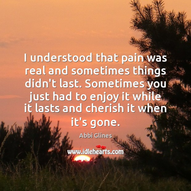 Image, I understood that pain was real and sometimes things didn't last. Sometimes