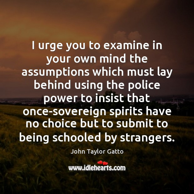 I urge you to examine in your own mind the assumptions which John Taylor Gatto Picture Quote