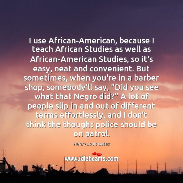 Image, I use African-American, because I teach African Studies as well as African-American