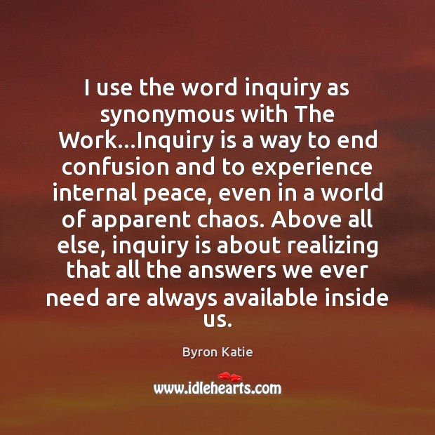 I use the word inquiry as synonymous with The Work…Inquiry is Image