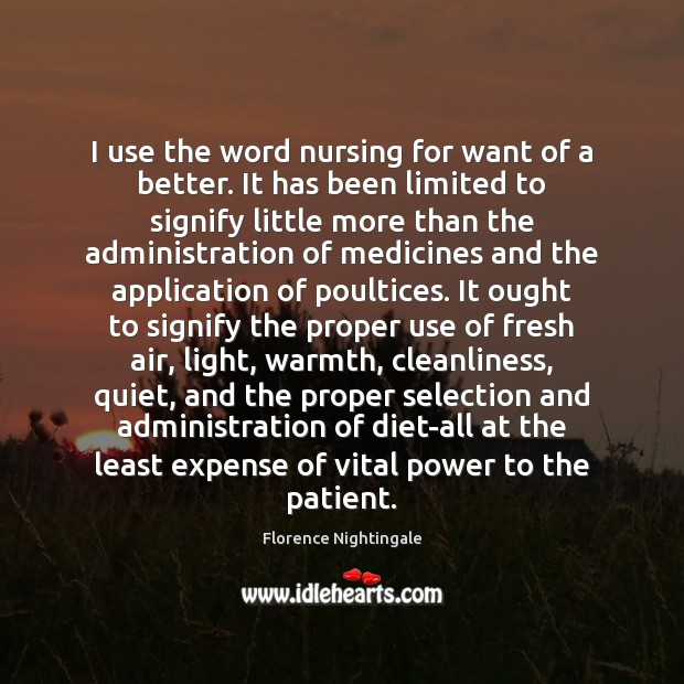 I use the word nursing for want of a better. It has Florence Nightingale Picture Quote