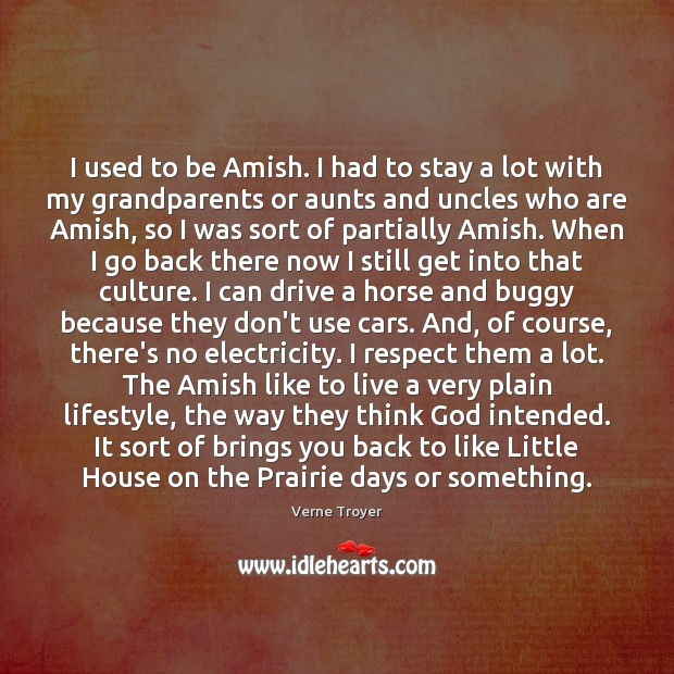Image, I used to be Amish. I had to stay a lot with