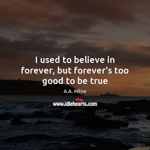 I used to believe in forever, but forever's too good to be true Too Good To Be True Quotes Image