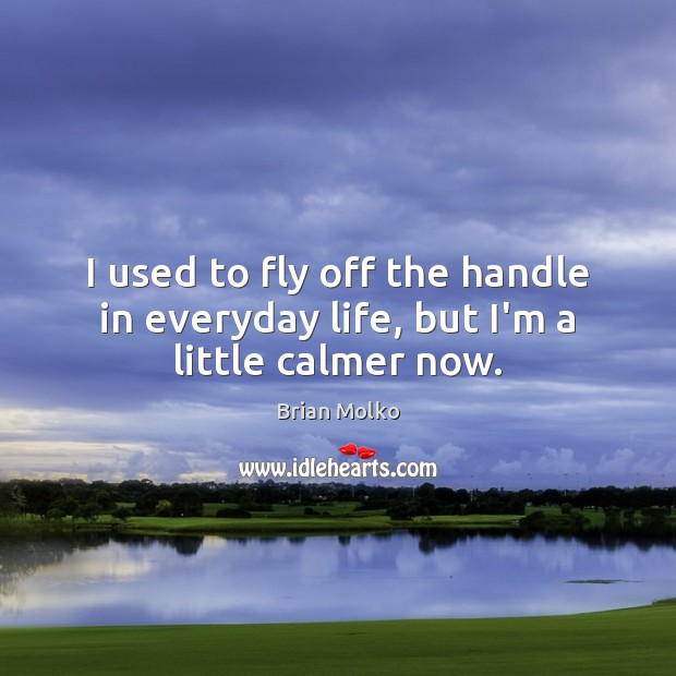 I used to fly off the handle in everyday life, but I'm a little calmer now. Image
