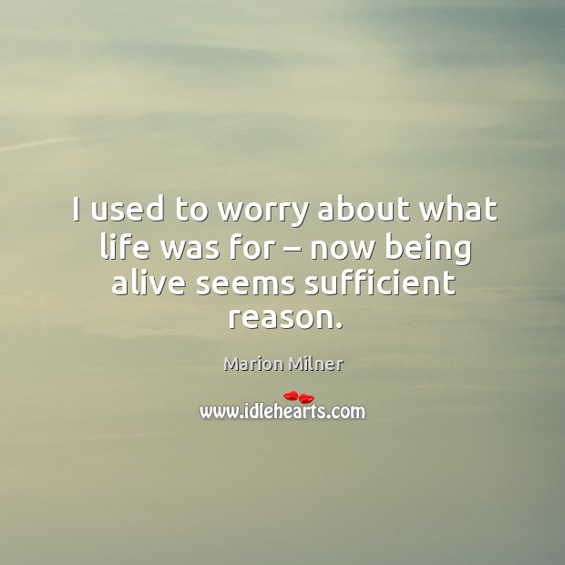 I used to worry about what life was for – now being alive seems sufficient reason. Image