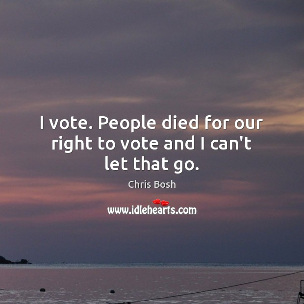 I vote. People died for our right to vote and I can't let that go. Image