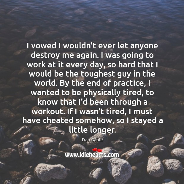I vowed I wouldn't ever let anyone destroy me again. I was Dan Gable Picture Quote