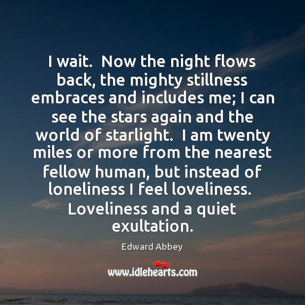 I wait.  Now the night flows back, the mighty stillness embraces and Image