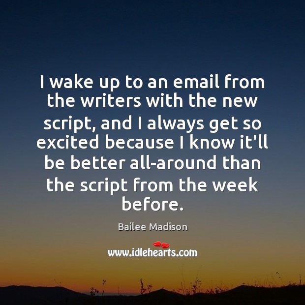 Image, I wake up to an email from the writers with the new
