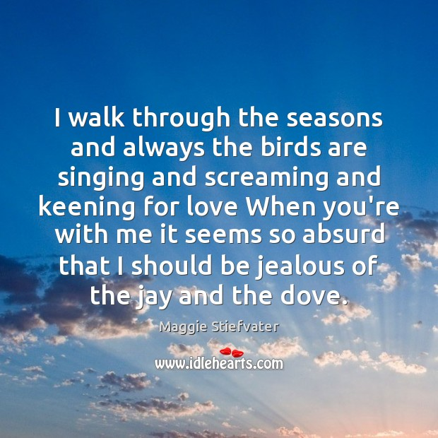 Image, I walk through the seasons and always the birds are singing and