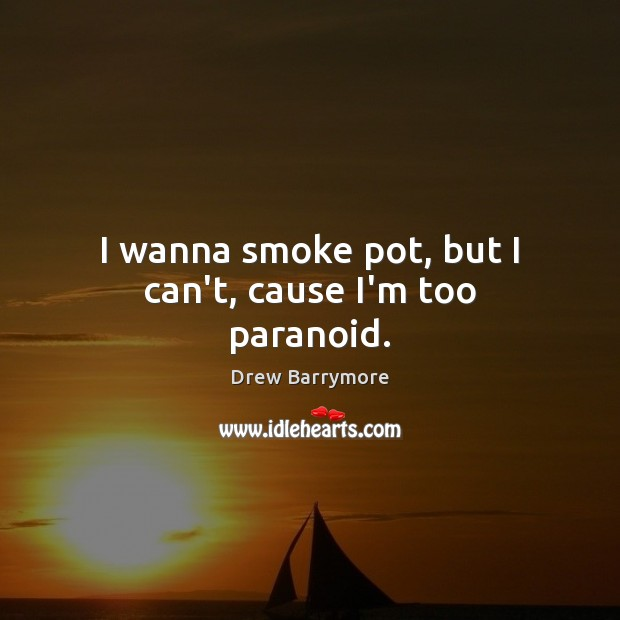 I wanna smoke pot, but I can't, cause I'm too paranoid. Drew Barrymore Picture Quote