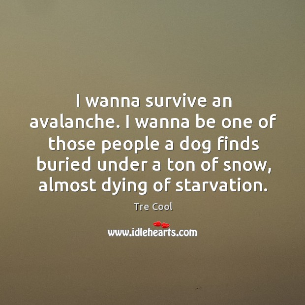 I wanna survive an avalanche. I wanna be one of those people a dog finds buried under a Image