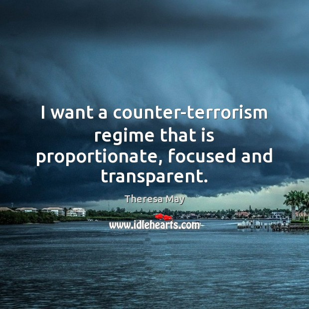 I want a counter-terrorism regime that is proportionate, focused and transparent. Image