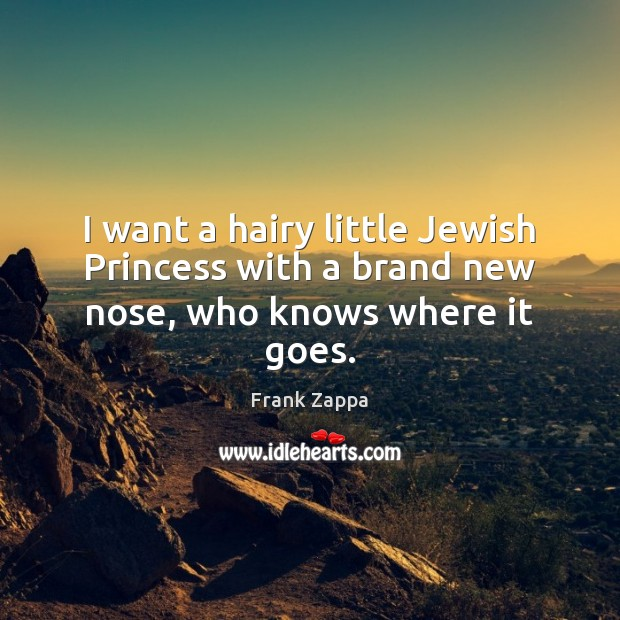 I want a hairy little Jewish Princess with a brand new nose, who knows where it goes. Image