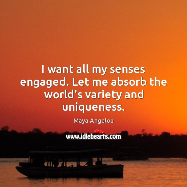 I want all my senses engaged. Let me absorb the world's variety and uniqueness. Image