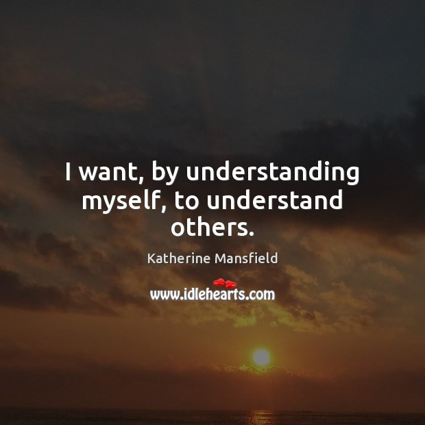 I want, by understanding myself, to understand others. Image