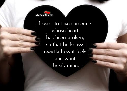 I Want To Love Someone Whose Heart Has Been Broken, So…
