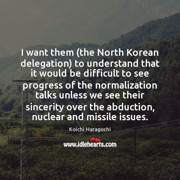 Image, I want them (the North Korean delegation) to understand that it would