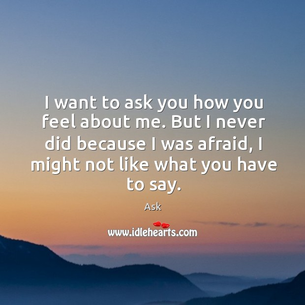 Image, I want to ask you how you feel about me. But I never did because I was afraid, I might not like what you have to say.