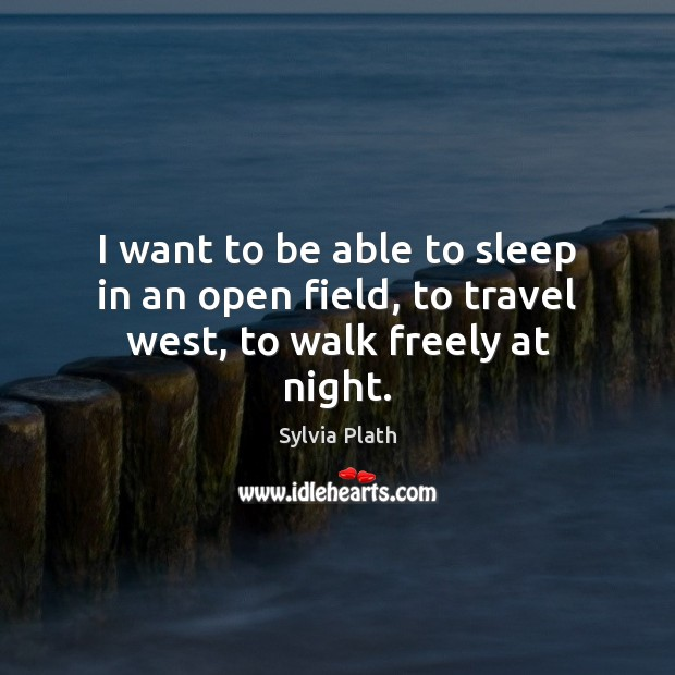 I want to be able to sleep in an open field, to travel west, to walk freely at night. Image