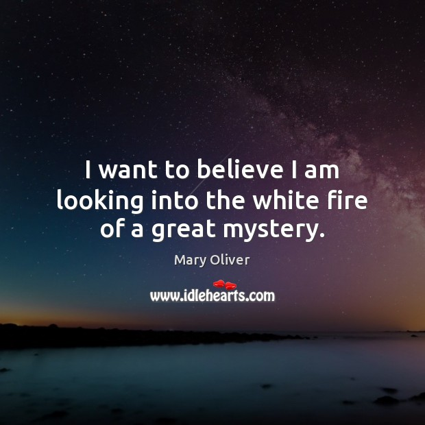 I want to believe I am looking into the white fire of a great mystery. Mary Oliver Picture Quote