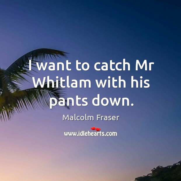 I want to catch Mr Whitlam with his pants down. Malcolm Fraser Picture Quote