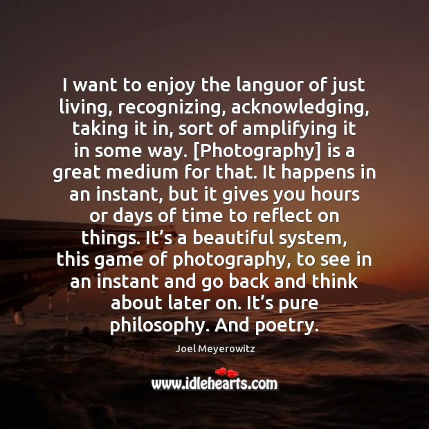 Image, I want to enjoy the languor of just living, recognizing, acknowledging, taking
