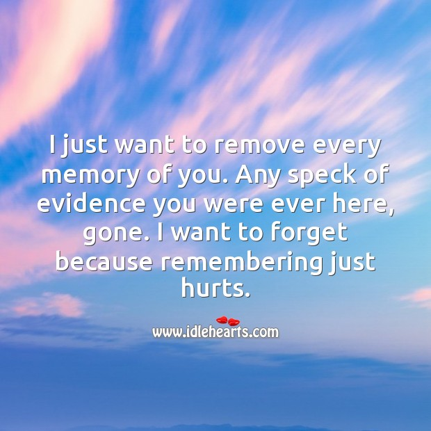 I want to forget you… Because remembering just hurts. Sad Messages Image
