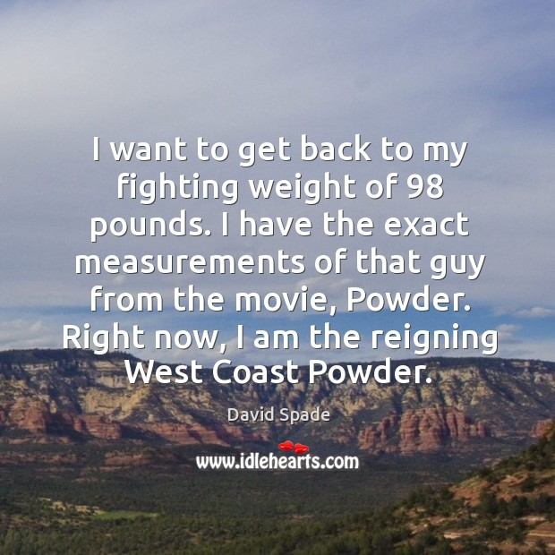 I want to get back to my fighting weight of 98 pounds. David Spade Picture Quote