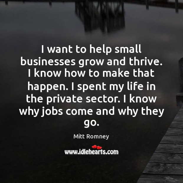 I want to help small businesses grow and thrive. I know how Mitt Romney Picture Quote