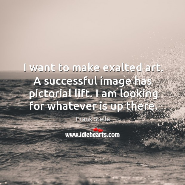 I want to make exalted art. A successful image has pictorial lift. I am looking for whatever is up there. Image