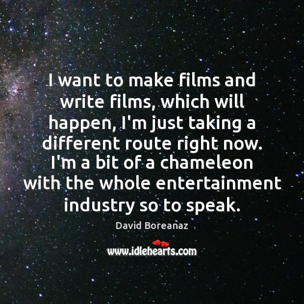 Image, I want to make films and write films, which will happen, I'm