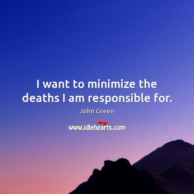 I want to minimize the deaths I am responsible for. Image