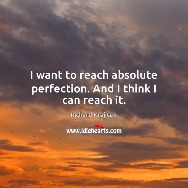 I want to reach absolute perfection. And I think I can reach it. Richard Krajicek Picture Quote