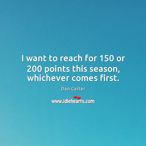 I want to reach for 150 or 200 points this season, whichever comes first. Image