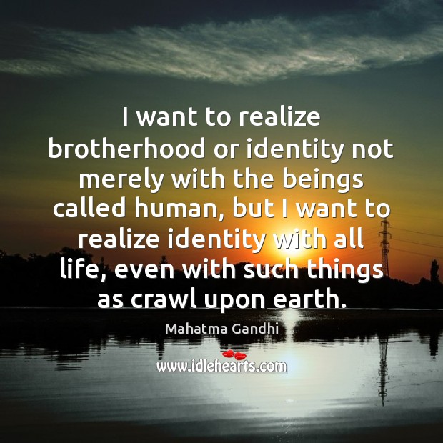 Image, I want to realize brotherhood or identity not merely with the beings