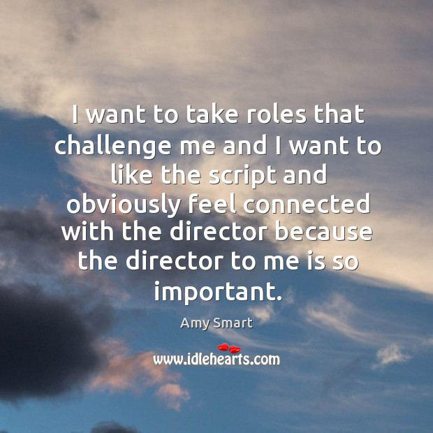I want to take roles that challenge me and I want to like the script and obviously feel connected Amy Smart Picture Quote