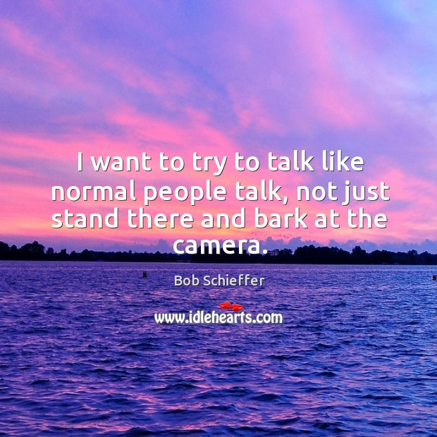I want to try to talk like normal people talk, not just stand there and bark at the camera. Image