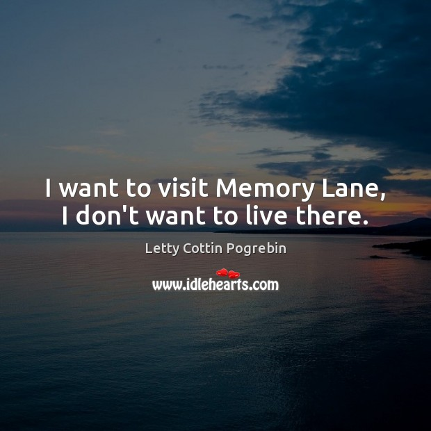 Image, I want to visit Memory Lane, I don't want to live there.