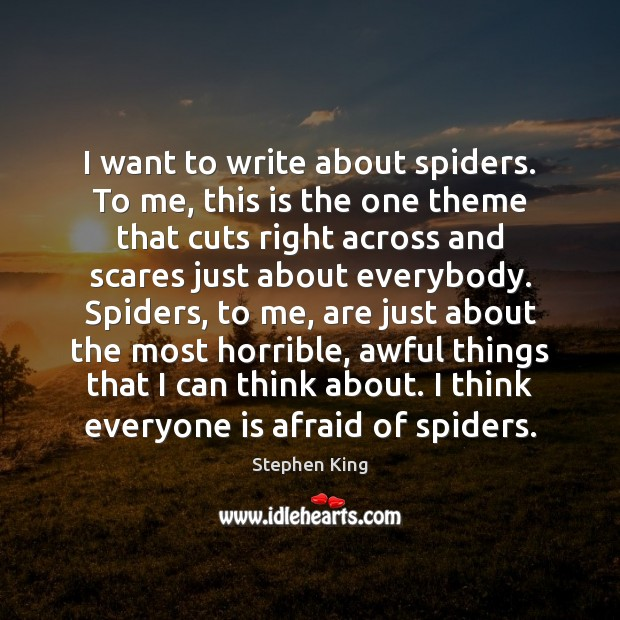 Image, I want to write about spiders. To me, this is the one