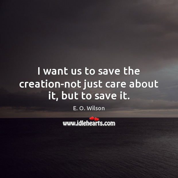 Image, I want us to save the creation-not just care about it, but to save it.