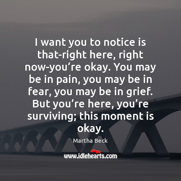 I want you to notice is that-right here, right now-you're okay. Martha Beck Picture Quote