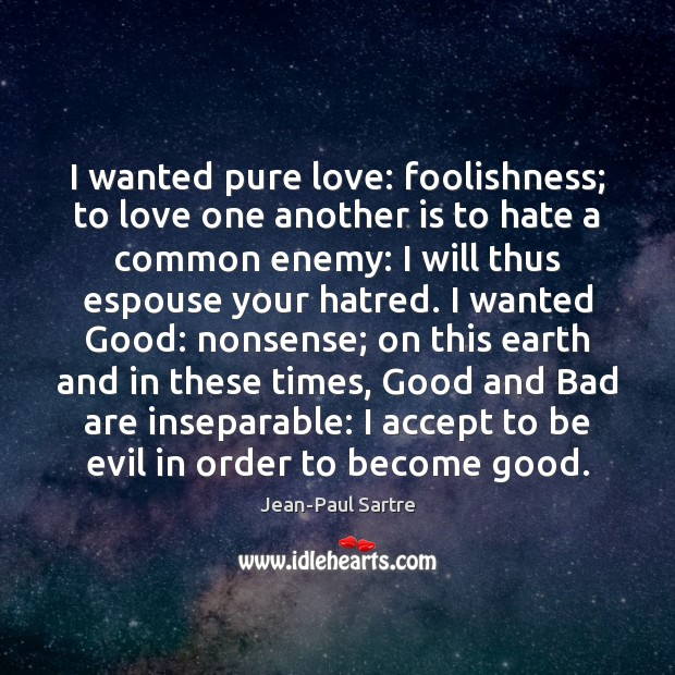 I wanted pure love: foolishness; to love one another is to hate Image