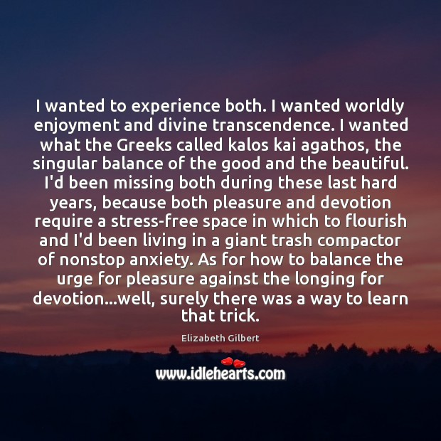 I wanted to experience both. I wanted worldly enjoyment and divine transcendence. Elizabeth Gilbert Picture Quote