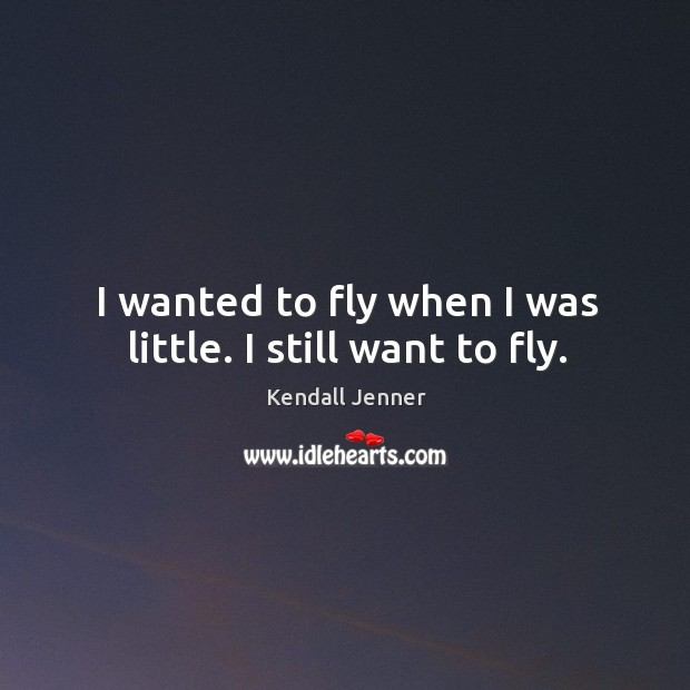 I wanted to fly when I was little. I still want to fly. Image