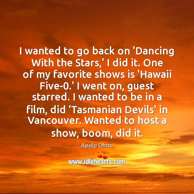 I wanted to go back on 'Dancing With the Stars,' I Image