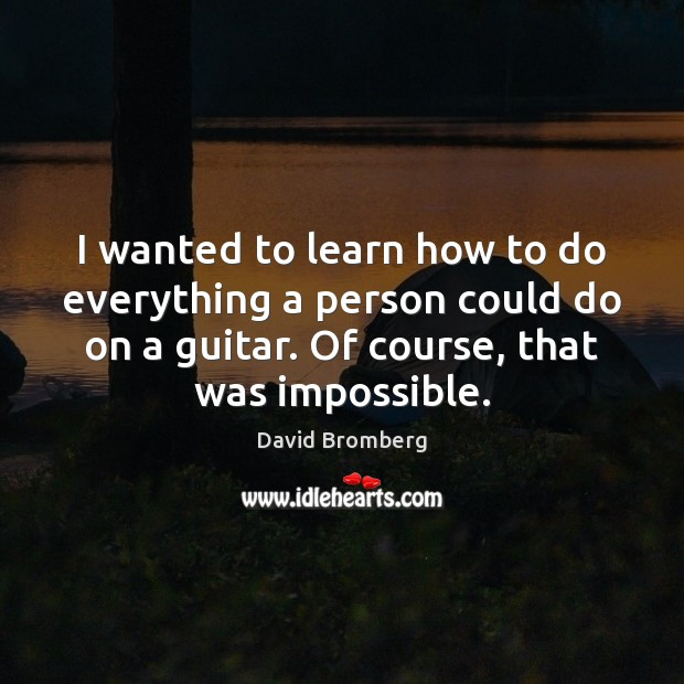 I wanted to learn how to do everything a person could do David Bromberg Picture Quote