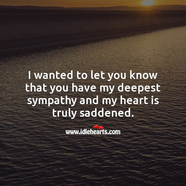 I wanted to let you know that you have my deepest sympathy. Sympathy Messages Image