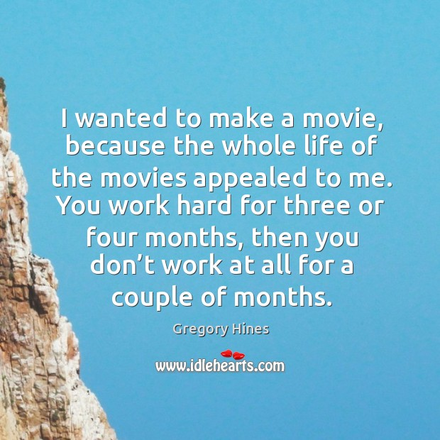 I wanted to make a movie, because the whole life of the movies appealed to me. Image