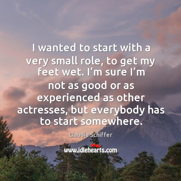 I wanted to start with a very small role, to get my feet wet. I'm sure I'm not as good or as experienced Claudia Schiffer Picture Quote